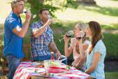 Happy friends drinking at the park — Stock Photo
