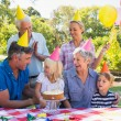 Happy family celebrating a birthday — Stock Photo #76356883
