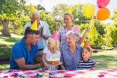 Happy family celebrating a birthday — Stock Photo