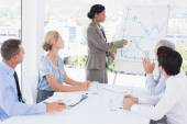 Businesswoman explaining the graph on the whiteboard — Stock Photo