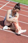 Highlighted bones of injured woman on track — Stock Photo