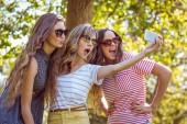 Glada vänner att ta en selfie — Stockfoto