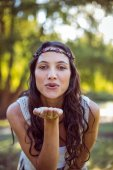 Pretty brunette blowing a kiss — Stock Photo