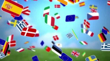 Nationals flags of European country turning — Stock Video
