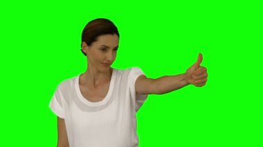 Happy businesswoman showing thumb up — Stock Video