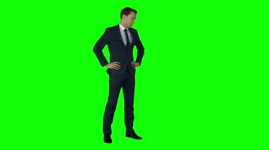 Irritated businessman on green screen — Stock Video