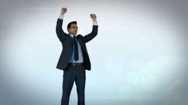 Businessman cheering on money pile — Wideo stockowe