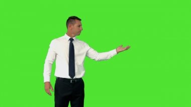Businessman with his hand out — Stock Video