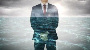 Businessman with choppy ocean overlay — Stock Video