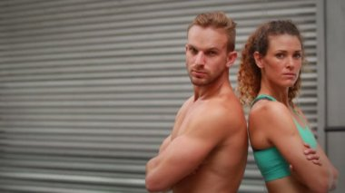Couple posing at crossfit gym — Stock Video