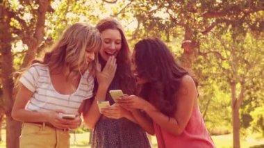 Vrienden met behulp van hun smartphones en lachen — Stockvideo
