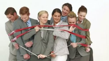 Business people surrounding by red strip — Stock Video
