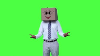 Anonymous businessman with box on head — Stock Video
