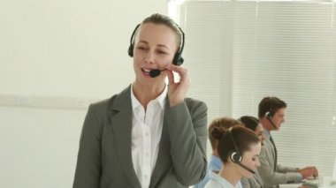 Business team working in call center — Stock Video