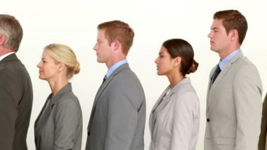 Business people standing line up — Stock Video