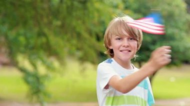 Little boy waving american flag — Stock Video