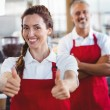 Barista gesturing thumbs up — Stock Photo #81855504
