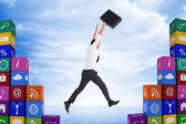 Composite image of businessman leaping with his briefcase — Stock Photo