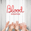 Blood donation against white wood — Foto Stock #81890172
