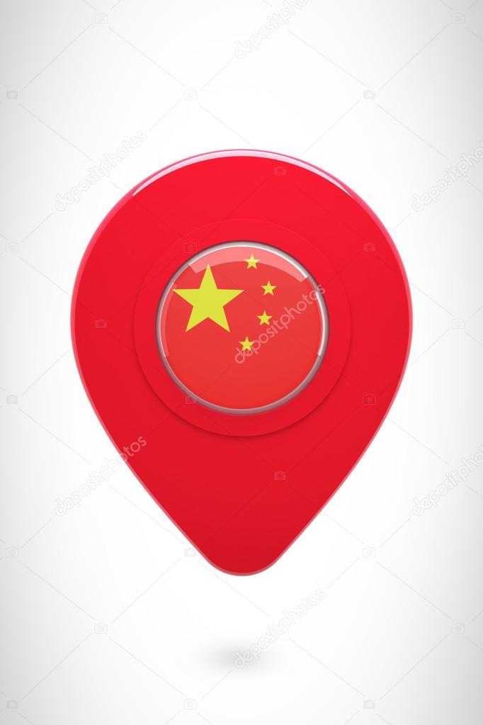 中国国旗的地图标记 — 图库照片08wavebreakmedia