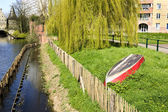 Bank of Lieve canal  in Ghent, Belgium, Europe — Stock Photo