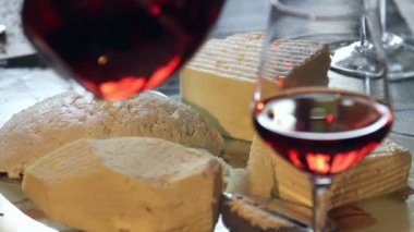 Cheese and wine — Stock Video
