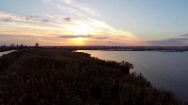 Danube Delta in motion at sunset — 图库视频影像