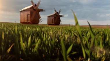 Stare wiatraki — Wideo stockowe