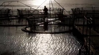 Sturgeon cages at sunset — Stock Video