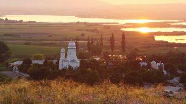 Saon Monastery at sunset — Stock Video
