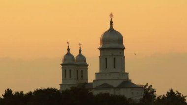 Saon Monastery at sunset — Stock Video