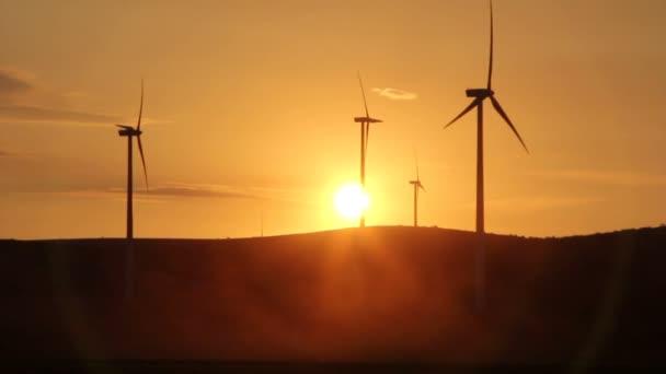Turbinas de viento al atardecer — Vídeo de stock