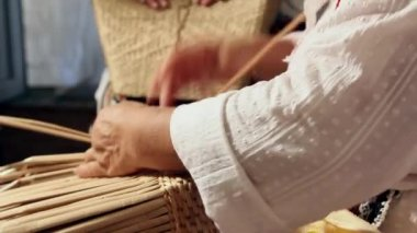 Cattail basket — Stock Video