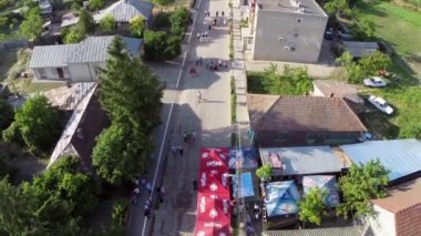 Greci Cherry Festival, aerial perspective — Stock Video