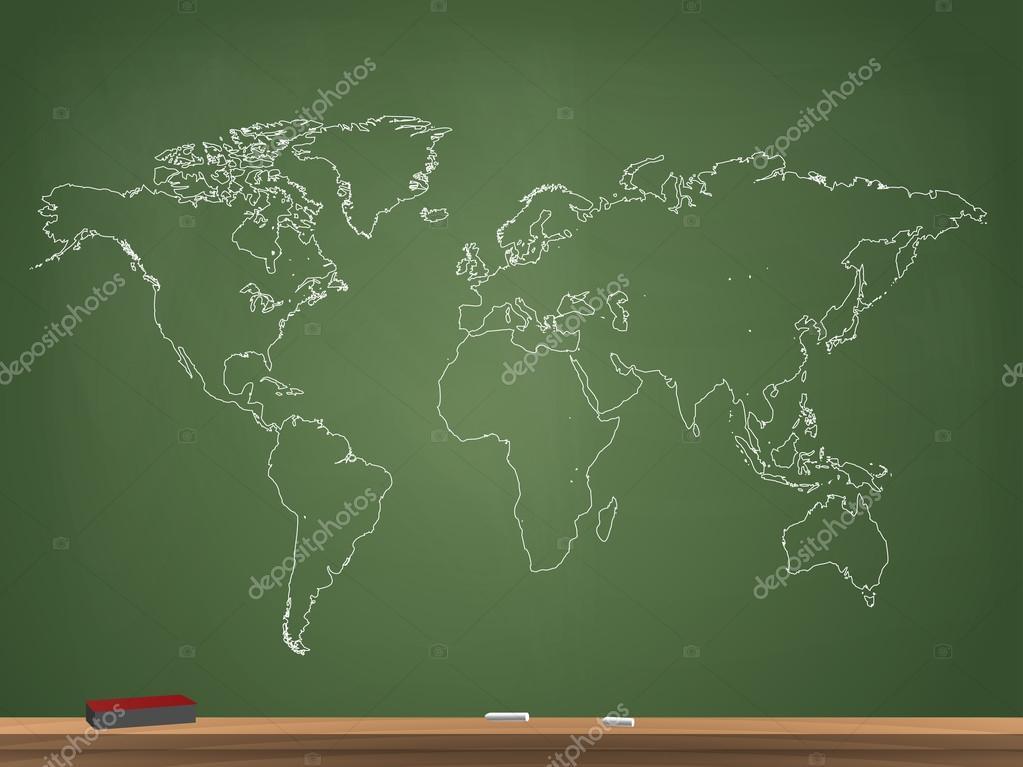 现实的黑板世界地图矢量图