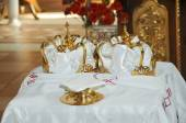 Two Orthodox Wedding Ceremonial Crowns Ready for Ceremony  — Stock Photo