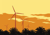 Wind turbines and orange sky — Stock Vector