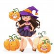 Halloween witch girl with funny pumpkins vector illustration — Stock Vector #53300549