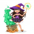 Halloween witch girl with the boiler of potion — Stock Vector #53300557