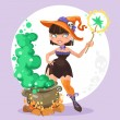 Halloween witch girl with the boiler of potion on background — Stock Vector #53300965