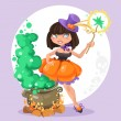 Halloween witch girl with the boiler of potion on background — Stock Vector #53301629