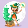 Halloween witch girl with the boiler of potion on background — Stock Vector #53302883