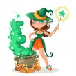 Halloween witch girl with the boiler of potion — Stock Vector #53302891