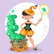 Halloween witch girl with the boiler of potion on background — Stock Vector #53303417