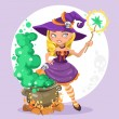 Halloween witch girl with the boiler of potion on background — Stock Vector #53303605
