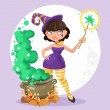 Halloween witch girl with the boiler of potion on background — Stock Vector #53304195