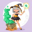 Halloween witch girl with the boiler of potion on background — Stock Vector #53304437