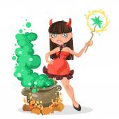 Halloween witch devil girl with the boiler of potion — Stock Vector