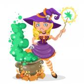 Halloween witch girl with the boiler of potion — Stock Vector