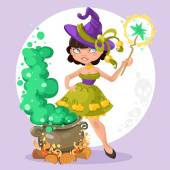 Halloween witch girl with the boiler of potion on background — Stock Vector